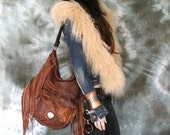 Distressed tribal chestnut brown leather fringed hobo bag  fringe artistan purse bohemian african jungle raw leather festival free people