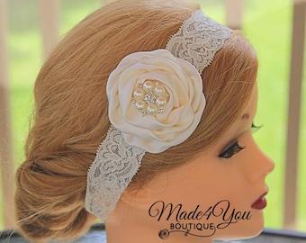 Ivory Cream Lace Headband - Bridal Headband - Wedding Party Flower - Child Headband