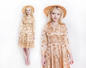Vintage 1950s Dress - Champagne Satin Brocade Shirtwaist Full Skirt 50s- XS Extra Small