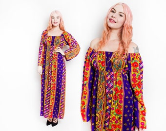 Vintage 1960s Dress - Off The Shoulder Printed Psychedelic Maxi Hippie Gown 60s - Small