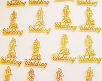 White and Gold Our Wedding Cake Toppers - 12 Pieces