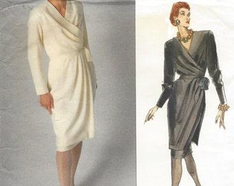 80s Christian Dior Womens Mock Wrap Dress & Overskirt Vogue Sewing Pattern 2384 Size 14 Bust 36 UnCut Vintage Vogue Paris Original Patterns