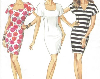 90s Womens Sheath Dress Neckline Variations New Look Sewing Pattern 6017 Size 6 8 10 12 14 16 Bust 30 1/2 to 38 UnCut