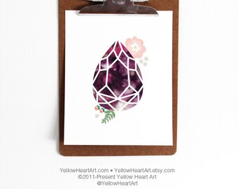 Eggplant and Purple Geometric Gemstone Tear Drop Print by Yellow Heart Art