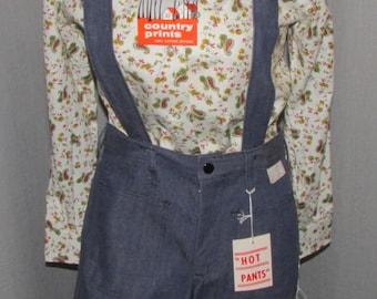 "Vintage  1970s Hot Pants Shorts Overall Suspender Straps Shorts Unworn/Deadstock Original Tags Cotton Duck Denim 30"" Waist"