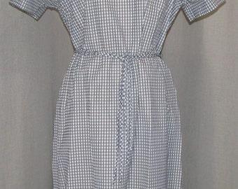 "Vintage 1960 Dress Vintage Clothing Navy Blue & Gray Plaid ""Berkshire"" Unworn/ Deadstock Tie Belt Tailored Waist Vintage Clothing XL"