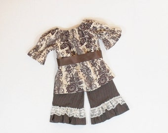 Girls SCHOOL Ruffle Pants  OUTFIT Toile Size 3 Months to 6 FALL Clothes 3mo  6mo 9mo 12mo 18mo 24mo 2T 3T 4T 5 6