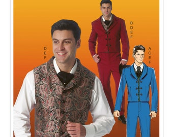 McCall's Pattern M7216 Men's Victorian Styled Suit - Jackets and Vests in 2 Styles, Tapered Pants and Cravat Tie Sizes Sml-Xxl NEW