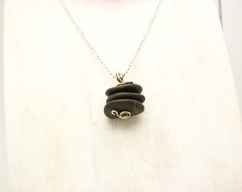 """Cairn Pendant Rustic  Beach Stone Pebble  Jewelry Natural Organic Earthy Natural Stone Jewelry """"Zen Moment"""""""