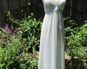 Vintage 70s Pale Blue and Lace Grecian Goddess Empire Waisted Long Full Length 1970s Nightgown by Shadowline Petite / Small