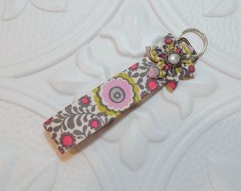 Wristlet Key Fob - Fabric Keychain - Key Chain - Gray Green Pink