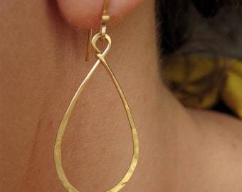 Earrings Drop Hoop Dangle Small 14 k Gold Filled. Gift for her. Bridesmaid gift.
