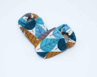 Organic Canvas Leaf Print Baby Shoes -  0 3 6 12 18 months Shoes / Booties Eco Friendly Teal, Blue, Gold and Gray Leaves
