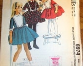 McCall's 6974 Helen Lee Girls Petticoat Dress Fitted Bib Front Flared Skirt Vintage 1960s Sewing Pattern Size 6 Chest 24 Uncut Factory Folds