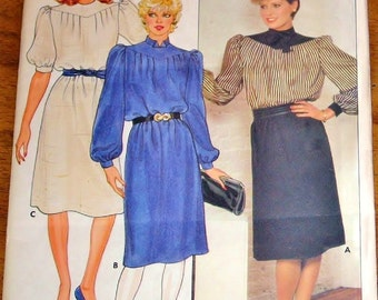Butterick 6095 Puff Sleeve Blouson Dress with Contrast, Yoke Womens Misses Vintage 1980s Sewing Pattern Size 16 Bust 38 Uncut Factory Folds