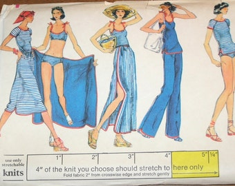 Vogue 9494 Bikini Swimsuit, Tee Top Beach Coverup Pants Skirt Womens Misses Vintage 1970s Sewing Pattern Size 10 Bust 32 Uncut Factory Folds