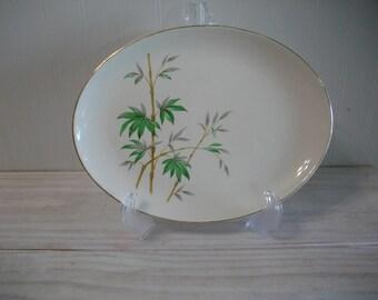 Stetson Bamboo Print Vintage Serving Platter, Decorative Plate, Kitchen Decor
