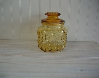 Gold Glass Canister Jar / Vintage 1970s Retro Harvest Gold Small Glass Kitchen Canister Cookie Jar