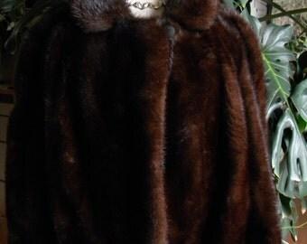 Stunning dark ranch mink fur coat / jacket / cropped