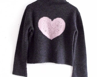 Grey Pink  sequined heart Sweater. Small/Medium