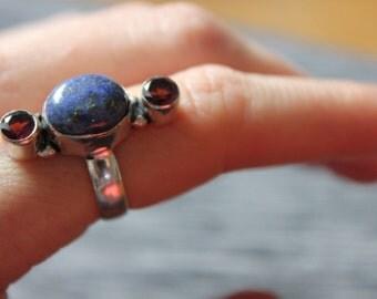Lapis Lazuli and Amethyst Ring, Valentines Treat