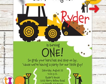 Construction, Truck, Birthday, Party, Invitation, for boys