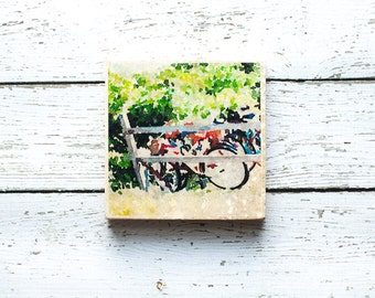 Bicycles Coaster, Original Photography Coasters, Bicycles at Montauk Point Photo, Stone Coaster, Long Island NY, Watercolor Landscape