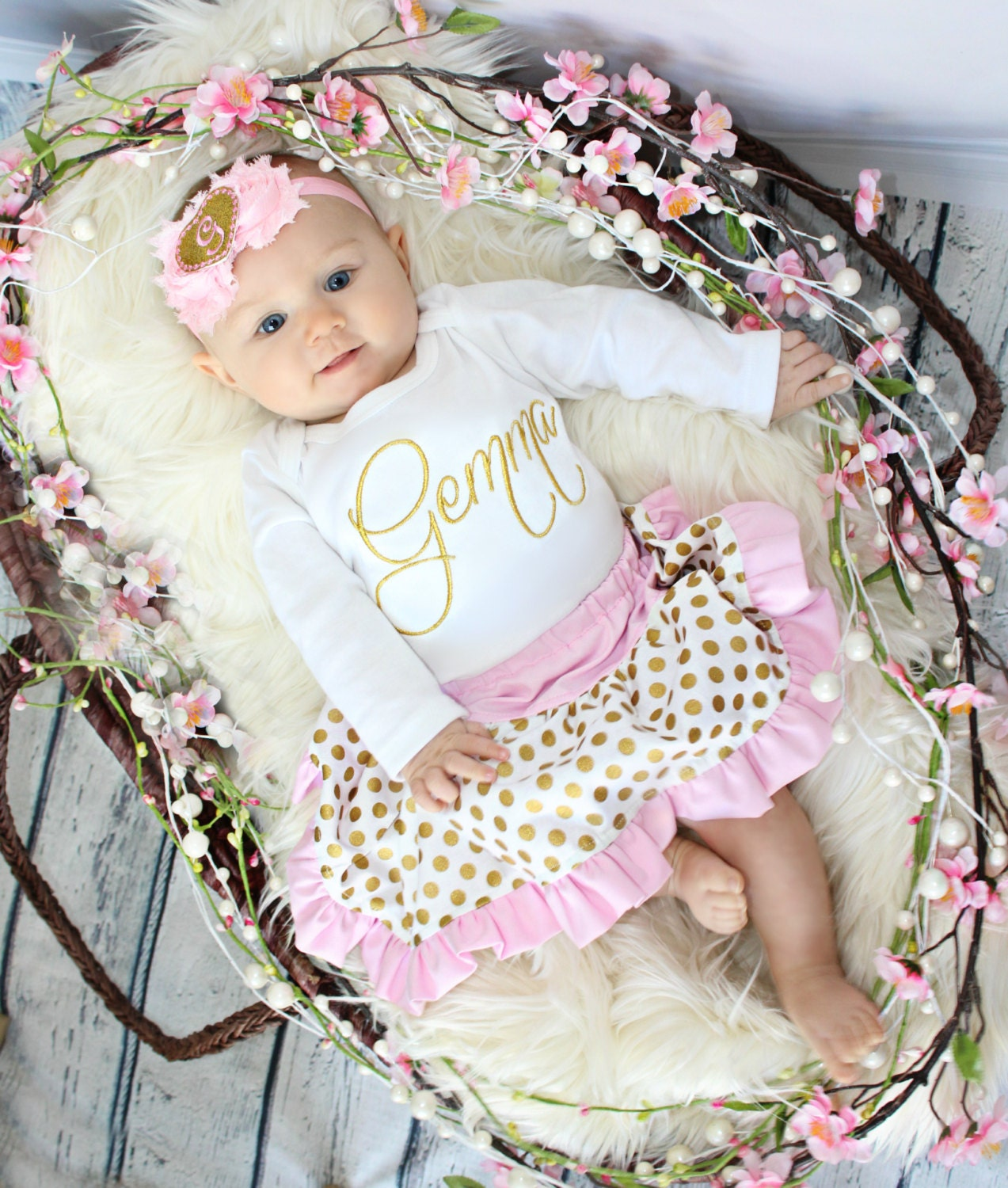 Pink Glitter Gold Personalized Baby Girl Clothes Newborn Gril