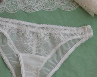 Women Sleepwear & Intimates Panties Handmade Lingerie The Romantic Lacey White Bridal Panties MADE TO ORDER