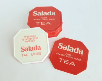 Salada Tea Tag Lines Coasters Lot Fortunes Sayings Pearls of Wisdom