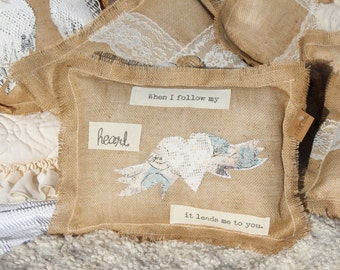 """Rustic pillow with heart with wings """"When I follow my Heart, it leads me to you""""  - Burlap pillow with heart and wings, valentines, love eJ1"""