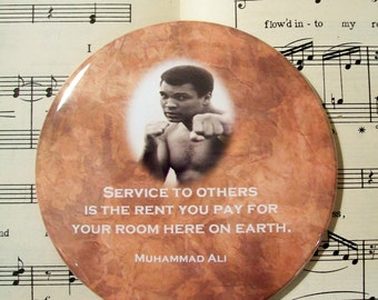African American - Muhammad Ali - Service to Others, Black History Magnet Large 3.50 Inches, Party Favor Magnets