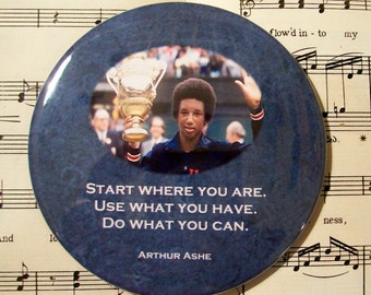 African American - Arthur Ashe  - Tennis Champion - Black History Magnet Large 3.50 Inches, Party Favor Magnets