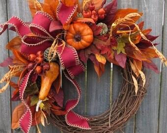 Fall Wreaths, Pumpkin Wreaths, Wreaths for fall, Halloween Thanksgiving wreath, Wreaths for door, Wreaths Autumn Wreath, Harvest Wreath