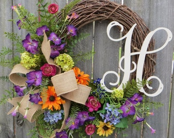 Spring Wreath, Spring Time Wreath With Wildflowers, Spring Wreath with Monogram Letter, Multi color Wreath, Mother's Day Gift, Wedding Gift