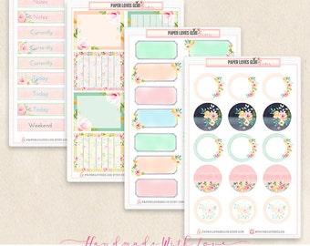 Set of 4 Sticker Sheets - 57 Watercolor Floral Planner Stickers, Calendar Sticker, Planner Accessories, Erin Condren, Filofax, Project Life