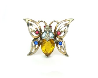 Réja Butterfly Brooch. Glass Jewels, Rhinestones, Sterling Silver, Gold Wash. Insect Figural. Vintage 1940s Designer Jewelry