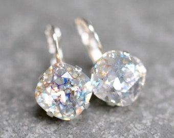 Aurora Borealis Pastel Rainbow Earrings Swarovski Crystal Confetti Leverback Drop Square Stud Rainbow Earrings Rounded Square Mashugana