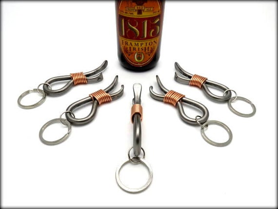 5 Keychain Bottle Openers Groomsmen Gift Set - Personalized Option Available - Hand Forged by Naz - Gifts for Groomsmen Ushers Gift Men