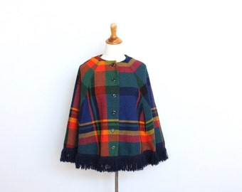 Plaid Wool Cape Womens Small / Medium Poncho Red Yellow Green Blue Primary Colors Roy G Biv Color Block Fringe Tassel Tartan
