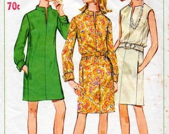 1960s Dress with Slit Neckline Pattern Simplicity 7347 Vintage Sewing Pattern Mini or Knee Length Mod Dress Bust 34