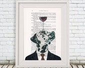 Dalmatian Poster: Art Poster Digital Art Original Illustration Giclee Print Wall Hanging Wall Decor Animal Painting,Dalmatian with wineglass