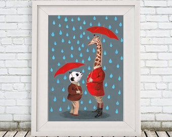 Panda painting, Giraffe painting, handpainted on high quality 250g Art paper, by painter Coco de Paris: Nice to meet you!