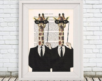 Masked Giraffe Print, Drawing Illustration Animal painting Giclee Prints Posters Mixed Media Art Acrylic Painting Portrait painting