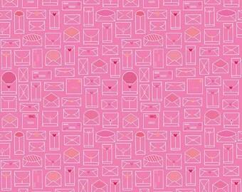 Lovebugs Pink Envelopes, Doodlebug Design, Cynthia Sandoval, Riley Blake Designs, 100% Cotton Fabric, C5052-PINK