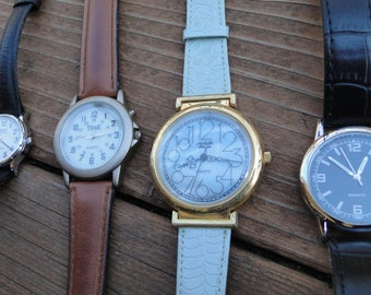 Lot of 4 vintage wrist watches steampunk repurpose design parts repair industrial