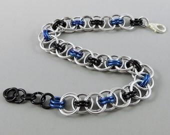 Dark Blue & Black Chainmail Bracelet, Chainmaille Bracelet, Helm Weave Chain Mail Jewelry, Helm Bracelet, Blue Jewelry