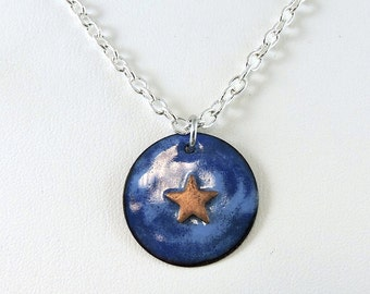 Enameled Copper Star Necklace, Copper Sky Necklace, Metalwork Jewelry, Copper Necklace, Star Jewelry