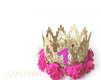 First Birthday|| Sienna crown gold || fuchsia flowers MINI lace crown headband|| photo prop || customize ANY AGE|| keepsake box included