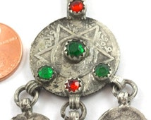 Moroccan Vintage Cast Coin Pendant, with Glass Settings (P332)